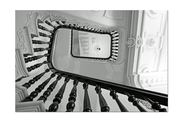 Stairway @ Meek Mansion 1 Cherryland, Ca. Historic Landmark Built 1869 William Meek Bnw_friday_eyeemchallenge 10 Acre Estate Originally 3,000 Acres Architecture : Victorian Style: Second Empire, Italian Villa Orchards Crops : Cherry, Apricots, Plums, Almonds Mansion Has 3 Floors With A Cupola 7,902 Sq Ft. 23-27 Rooms Basement Gazebo Carriage House Interior Black & White Black And White Black And White Collection  Monochrome Black And White Photography Best Of Stairways