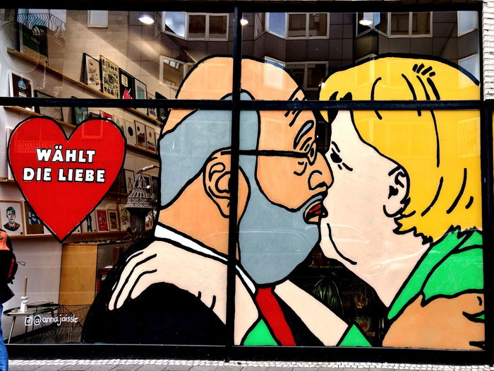 The Difference Between Certain German Party Leaders Elect Love Love Merkel And Schulz Caricature Close-up Day Election Election Day Outdoors Party Leaders Shopwindow Text Streetphotography Street Art The Street Photographer - 2018 EyeEm Awards Moments Of Happiness