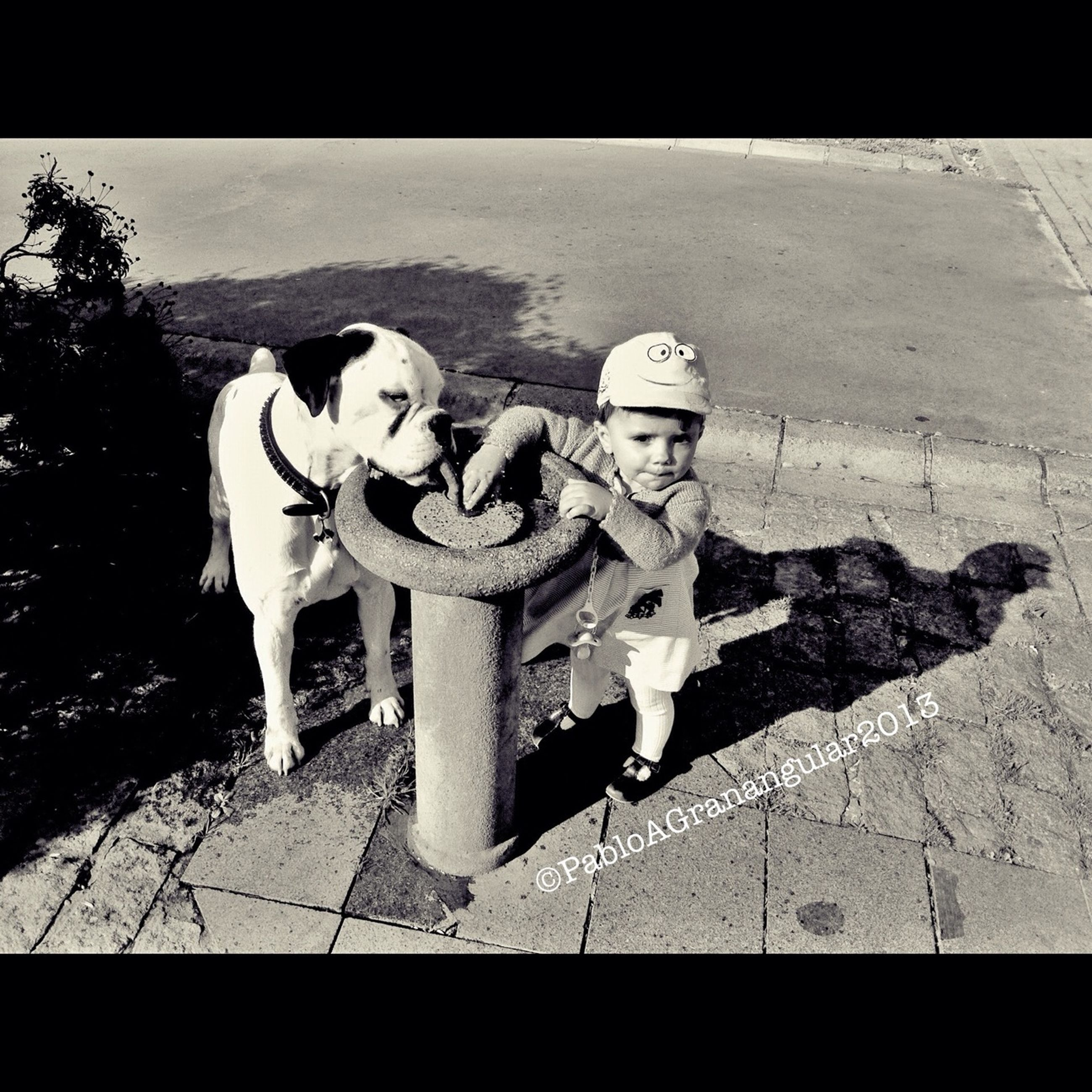 transfer print, auto post production filter, human representation, high angle view, sunlight, outdoors, full length, day, street, shadow, statue, sculpture, lifestyles, creativity, animal representation, leisure activity, childhood