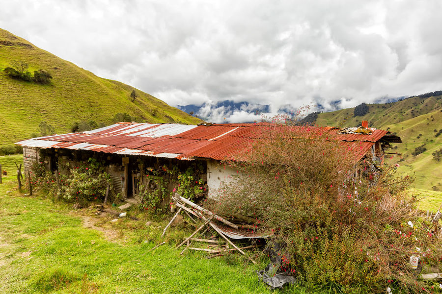 A weathered house in the mountains outside of Salento, Colombia. Cloud Colombia Farm Hiking Palm Pasture Quindío Rural Tree Trip Andean Building Cauca Colombian  Countryside Forest Hike Jeep Landscape Old Quindío Salento Tolima Trek Wax