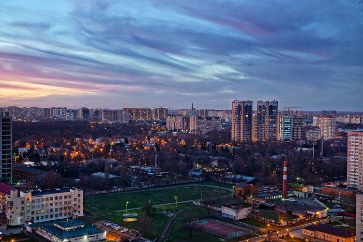 Building Exterior Downtown District Illuminated City Life Outdoors Sky Sunset Night