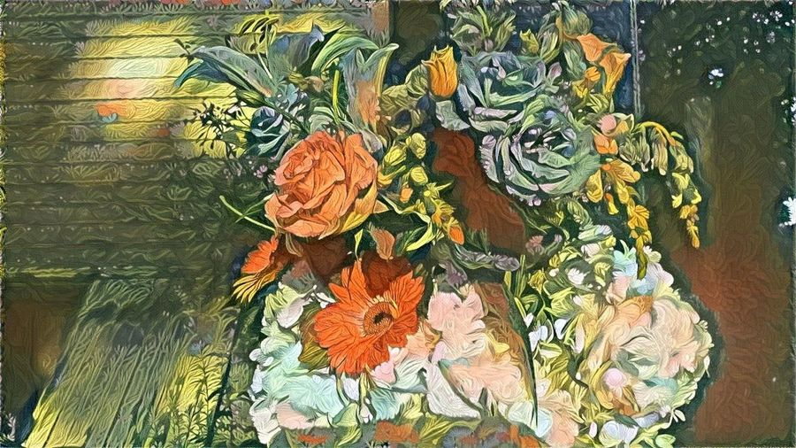 Art ArtWork Bouquet Of Flowers Floral Arrangement Floral Art Green Color Multi Colored Nature No People Orange Color Painting App Pastel Colors