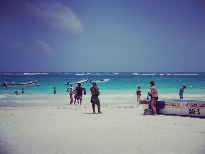 Police Protection Presence Beach Tulum Mexico