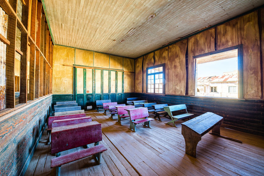 Restored schoolhouse in the UNESCO World Heritage ghost town of Humberstone, Chile Architecture Building Chile Desert Dust Factory Heritage Humberstone Iquique Landscape Laura Nitre Old Saltpeter Saltpetre Sand Santa Santa Laura Site Street Town Unesco Village Works World