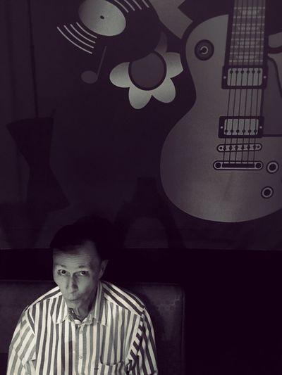 Peace & Love Guitar Overhead Portrait Guitar Peace And Love ✌❤ San Diego Corvette Diner Light And Shadow Overhead Headsup