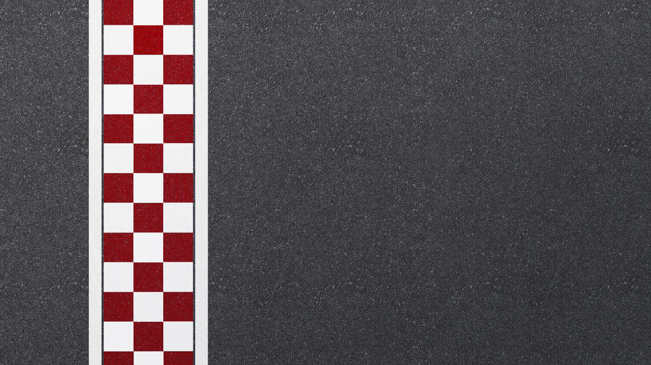 White Color No People Red Transportation Pattern Close-up Road Striped Checked Pattern Day Outdoors Asphalt Mode Of Transportation Symbol Sports Race Full Frame Black Color Motor Vehicle Gray Flag