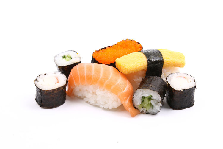 Assorted sushi mix on white background Sushi Food And Drink Rice Food Japanese Food Freshness Japan AssoRted Variety Fresh Seafood Meal Cuisine White Background Isolated