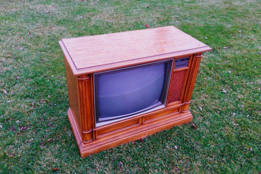 TV on the Green. Tv Television Set Grass Ground Televisionset Console