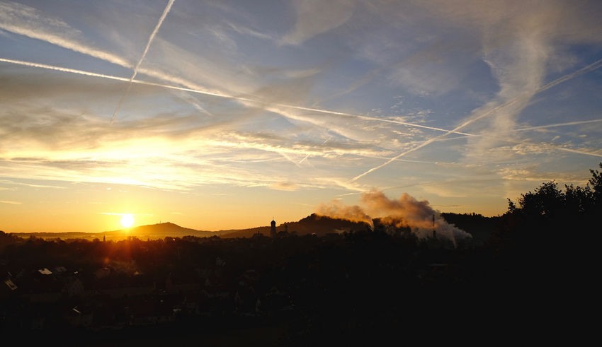 Schongau Schongausunrise SunsriseLovers Beauty In Nature Contrail Landscape My Hometown Nature Scenics Silhouette Vapor Trail