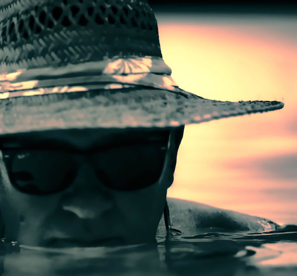 Hawaii Life Close-up Focus On Foreground Glasses Hat Relaxing Moments Relaxing Time Sky Submerged Sunglasses Sunset Water