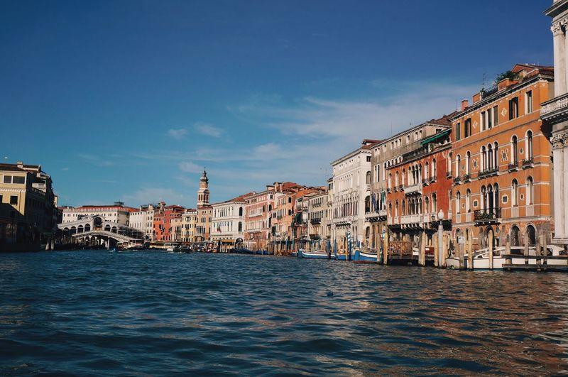 Grand Canal Venice, Italy Canal Water Reflections Venice Italy Sun Blue Sky Evening Rialto Bridge Bridge Architecture Colourful Colours Buildings Hidden Gems  Colour Of Life Color Palette
