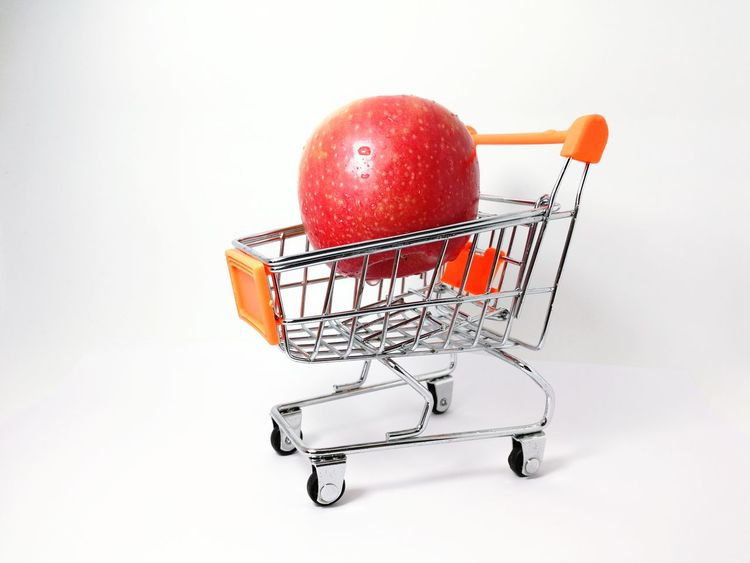apple in trolley Apple - Fruit Shopping Cart Consumerism Supermarket Retail  Buying Customer  Fruit Shopping Basket Store Food And Drink Food Merchandise E-commerce Red Market Healthy Eating Groceries Stock Market And Exchange Business Indoors  Food Stories