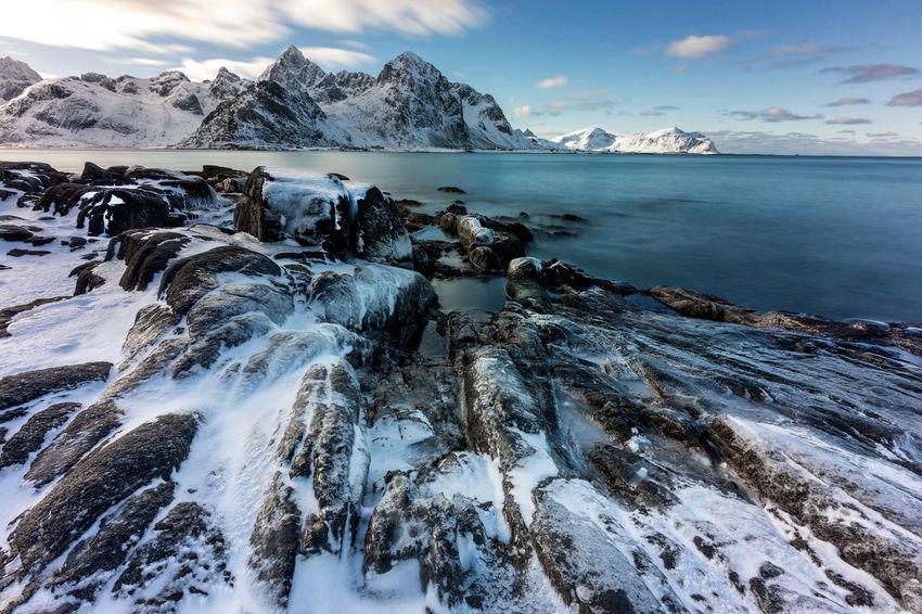Icy rocks in Vareid Ice Norway Vareid Cold Temperature Landscape Landscapes Lofoten Long Exposure Mountains Rocks Sea Sea And Sky Snow