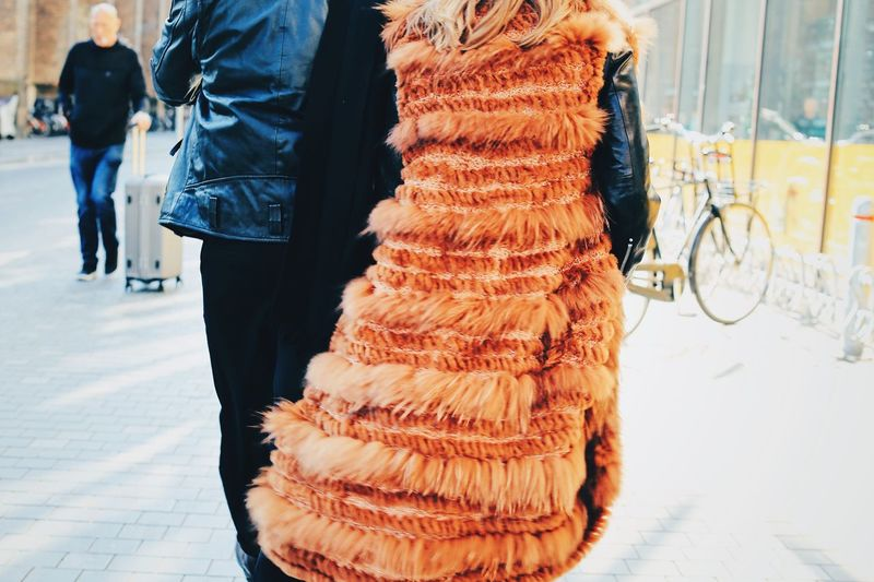 Hairy Fashionable Couples People Fur Coat Fur Citylife Full Frame Detail Real People People Midsection Day Freshness Lifestyles Retail  Warm Clothing Rear View Women Men Incidental People Adult Outdoors Low Section The Art Of Street Photography