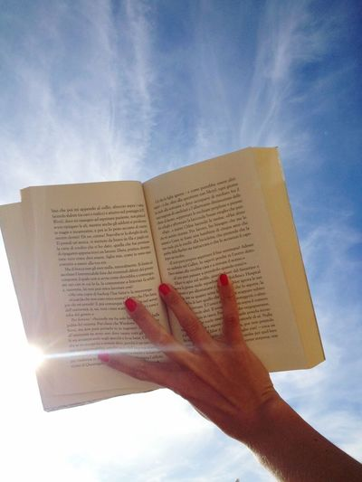 Book Open Pages Open Book  Reading Reading Time! Sky Summer Rednailpolish Hand