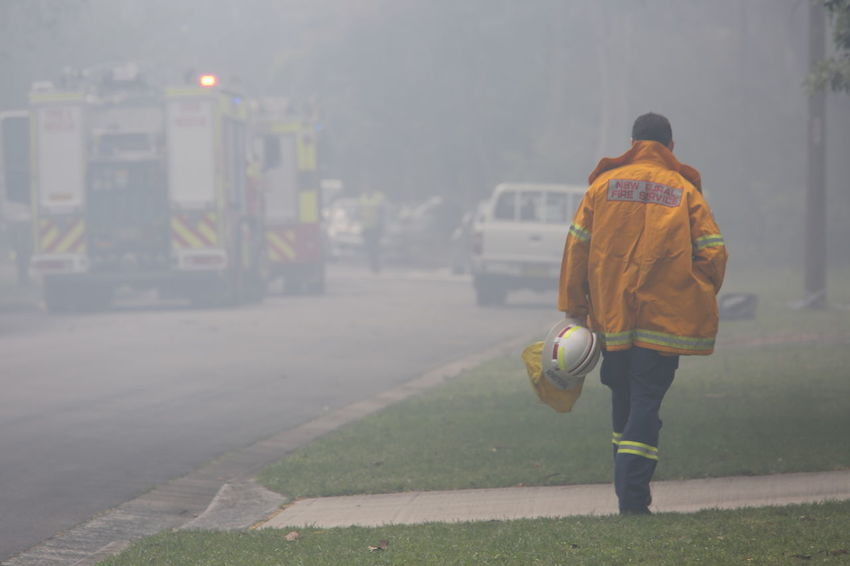 Alone Australia Berowra Bush Fire Bushfire Bushfireseason Emergency Fire Protection Fire Truck Fireman Hazard Helmet Jacket Man Occupation On The Move One Person PPE Rfs Rural Fire Service Safety Sirens Smoke Summer Transportation