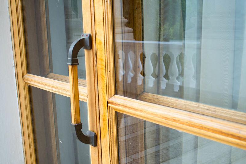 Reflection of window on door