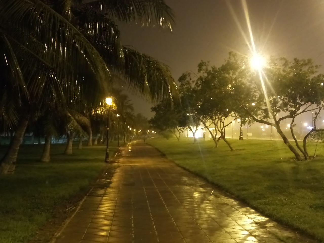 ILLUMINATED STREET LIGHT ON FOOTPATH AT NIGHT
