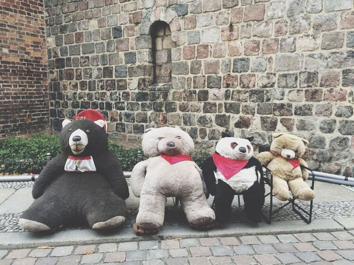 Here with the gang Friends Hanging Out No People Weirdography Stuffed Toy Brick Wall Portrait Selfie ✌ Outdoors Dressed To Impress Cute Forever Traveling YOLO ✌ EyeEm Best Shots Eye4photography  Walking Around Sitting No Fight