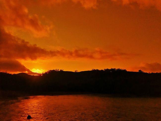 Sunrise Orange Color Nature Beauty In Nature Dramatic Sky Landscape Colorsky Sunrise - Dawn Skylight in Pantai Pangi BLITAR INDONESIA