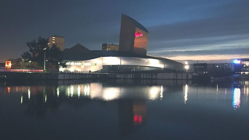 Reflection Illuminated Water Architecture Built Structure No People Sky Building Exterior Outdoors Night Modern Nature Building Architecture Architecture_collection Uniqueness IPhoneography Eye4photography  EyeEm Best Shots Water Reflections Salford Quays Manchester Museum