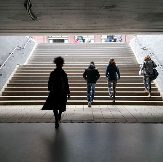 Group Of People Full Length Rear View Real People Walking Men Built Structure People Lifestyles Women Staircase Adult Transportation Subway Station Indoors  Subway Public Transportation Steps And Staircases people and places Justgoshoot Silhouette Silhouettes