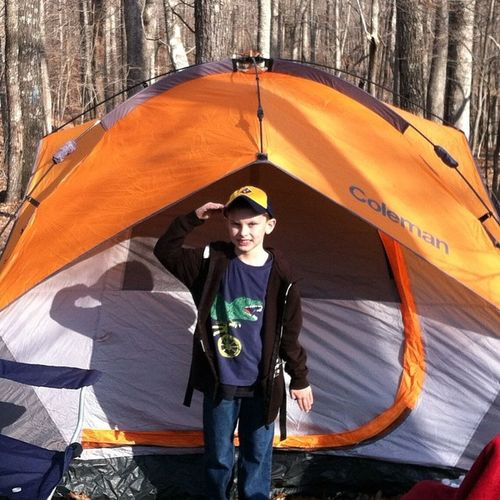 3/22/14 camping and saluting. Pack24 Cubscouts Kingsmountain
