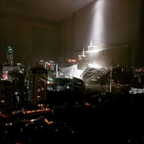 One night in Bangkok Bangkokskyline Nightphotography Night No People Indoors  Cityscape City Architecture Light In The Darkness Reflections And Shadows Reflection Photography Lightsplay Sleep Rest Hotel Room Hotel View Hotellife Sleeplessnights