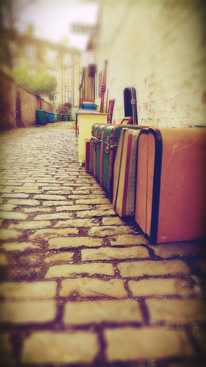 road trip! The Week Of Eyeem No People Old Suitcases Lane No People Outdoors Retro Vintage Cobblestone