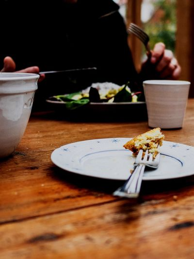 Food Sugar Cake Enjoy A Meal Coffee And Sweets Lunch Eating Fork Table Wooden Texture Onthetable On The Table