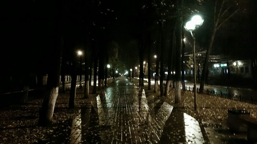 Blackandwhite Simmetrical Night Lights Street