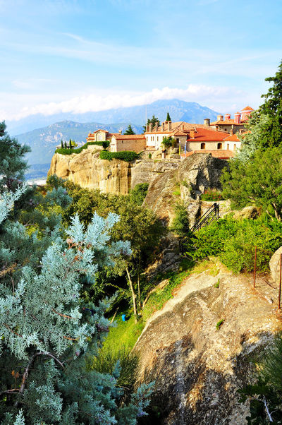 Meteora Monasteries located north of Greece in the region of Thessaly Architecture Beauty In Nature Building Exterior Built Structure Cloud - Sky Day Greece High Angle View House Meteora Monastery Mountain Nature No People Outdoors Religion Sky Travel Destinations Tree