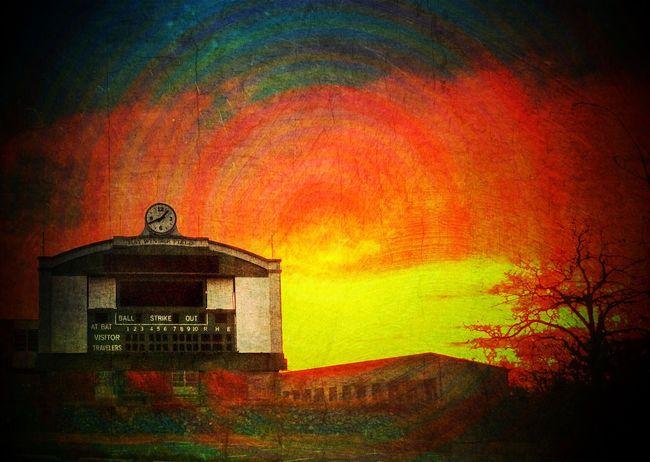EE_Daily: Orange Tuesday Baseball BallPark Score Dawn Digital Art IPhoneArtism Circles Cityscapes Urban Art