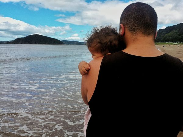 Father Bonding Togetherness People Father And Daughter Water Sky Two People Child Hugs Cuddle Nap Time Travel Outdoors New Zealand Exploring