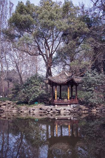 Gazebo by lake against trees