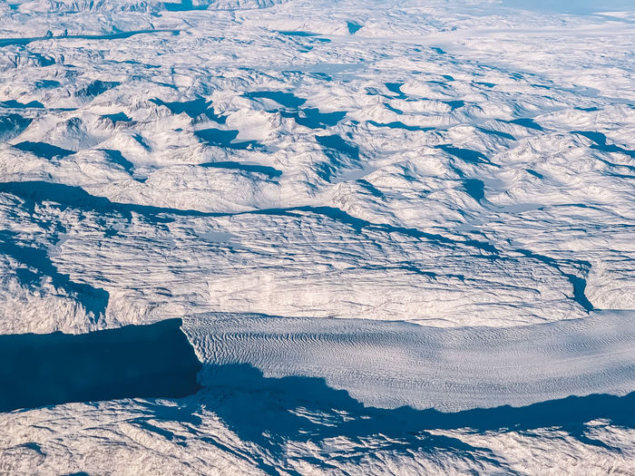 Aerial view of snow covered landscape