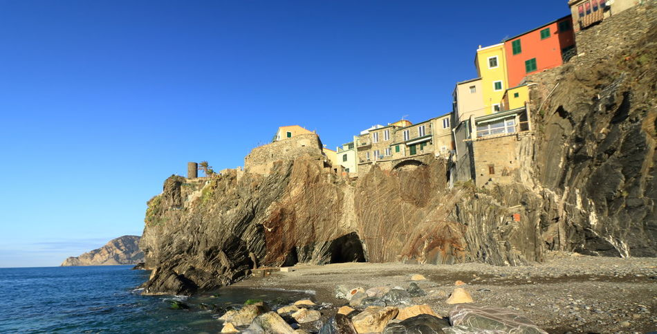 5 Terre 5 Terre Italia Architecture Beach Blue Clear Sky Day No People Outdoors Sea Travel Destinations Vernazza Slow Tourism Colorful