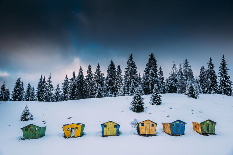 Cottages on snow covered landscape against sky