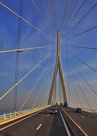 ✨The Pont de Normandie is a cable-stayed road bridge that spans the river Seine linking Le Havre to Honfleur in Normandy, northern France. Its total length is 2,143.21 metres (7,032 ft) – 856 metres (2,808 ft) between the two piers. ✨ Transportation Road Bridge - Man Made Structure The Way Forward Architecture Long Exposure City Normandie Le Havre Honfleur France Bridge Tourism EyeEm Best Shots EyeEm Gallery EyeEm Building Capture The Moment Great Atmosphere