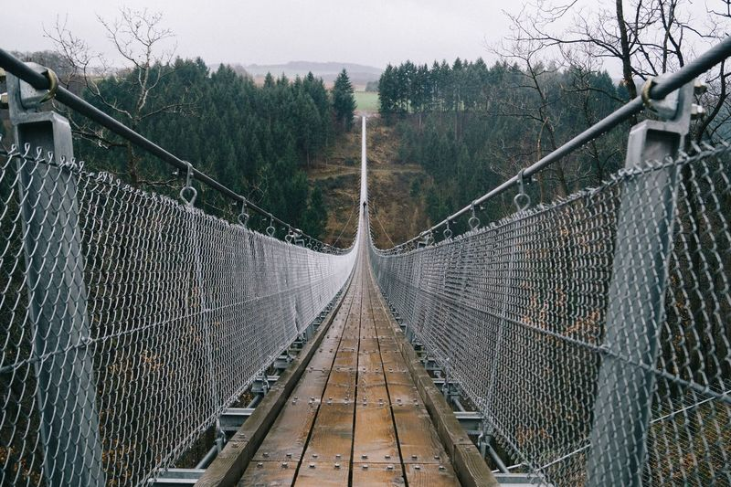 Empty footbridge at forest