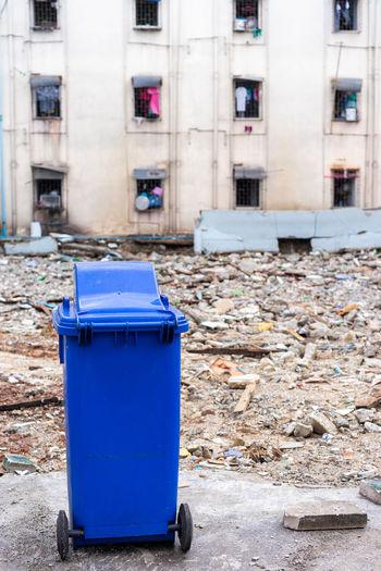 blue trashcan