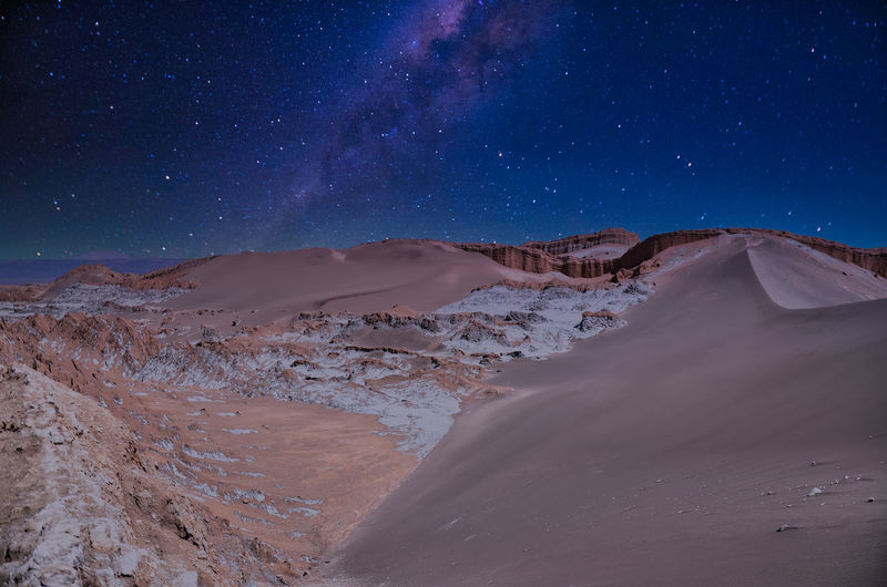 Scenic view of desert against sky at night
