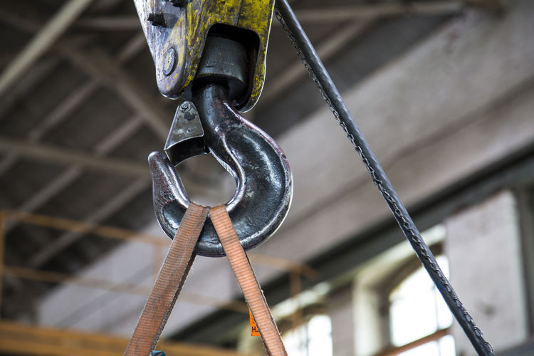 Low Angle View Of Hook At Metal Industry