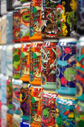 Beer Cans Packaging Beercans Beer For Sale Retail  Multi Colored Choice Souvenir Variation Market Market Stall Craft Large Group Of Objects Collection Abundance Merchandise Store