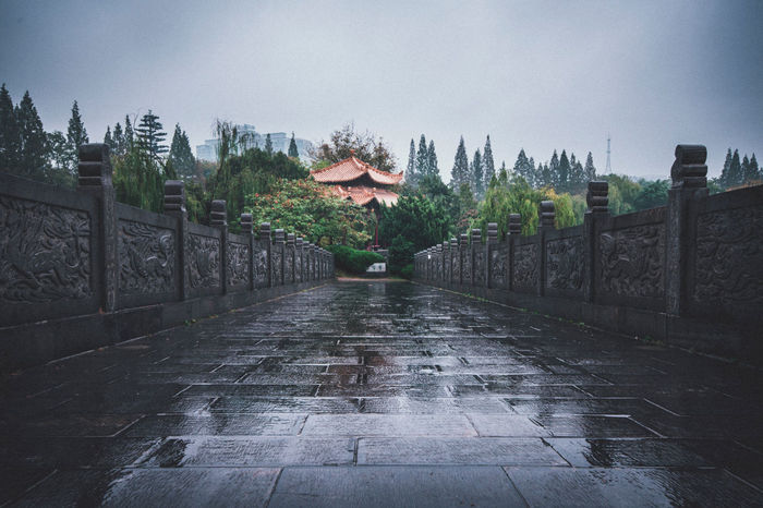 Architecture Bridge Building Exterior Built Structure China City Life Classic Hefei Leading Narrow Outdoors Overcast Pavilion Rain Rainy Days Tree Urban Walkway Weather Xiaoyaojin