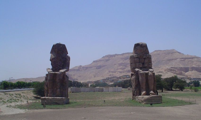 Egypt Luxor View Memnon Statues.