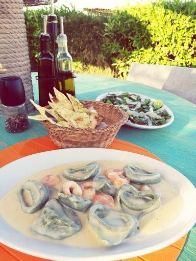 Tortellini  Shrimp Whitesaucepasta Homemadepasta Carpaccio Food Foodlove Foodphotography Dahab Dahab Red Sea RedSea Egypt Sinai