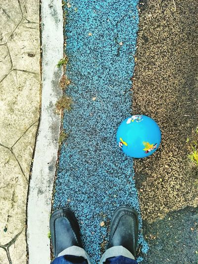 Are we ready yet? Playing With Kids Ball Blue Ball Grass Green Green Green!  Low Section Human Leg One Person Real People Personal Perspective Outdoors People
