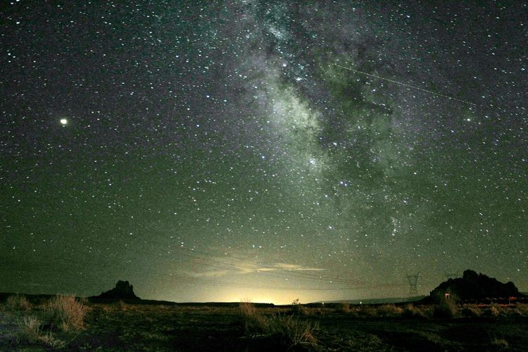 Majestic view of star field against sky at night