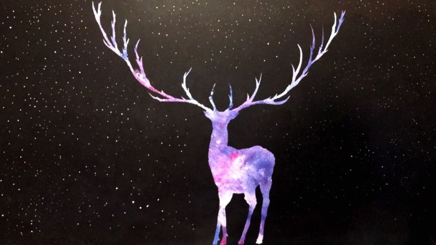 Night Illuminated Glowing Sky Majestic Beauty In Nature Astronomy Dark Symbol Black Background Space Tranquil Scene Deer Holy Painting Painted Pictures Painted Night Patronus Squadgoals Hemd First Eyeem Photo